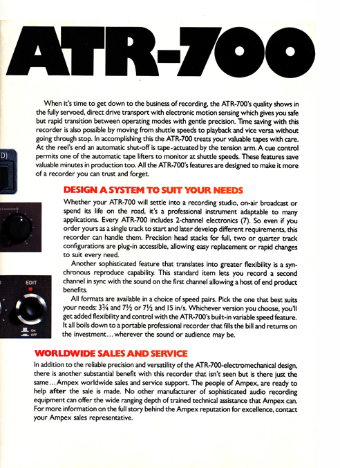 1980 ad for the Ampex ATR-700 professional reel to reel tape recorders in Reel2ReelTexas.com's vintage recording collection