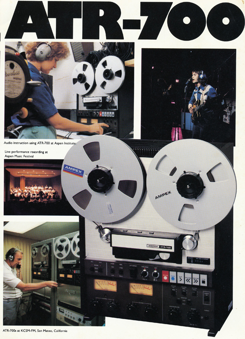 1980 ad for the Ampex ATR-700 professional reel to reel tape recorders in Phantom Productions' intage recording collection