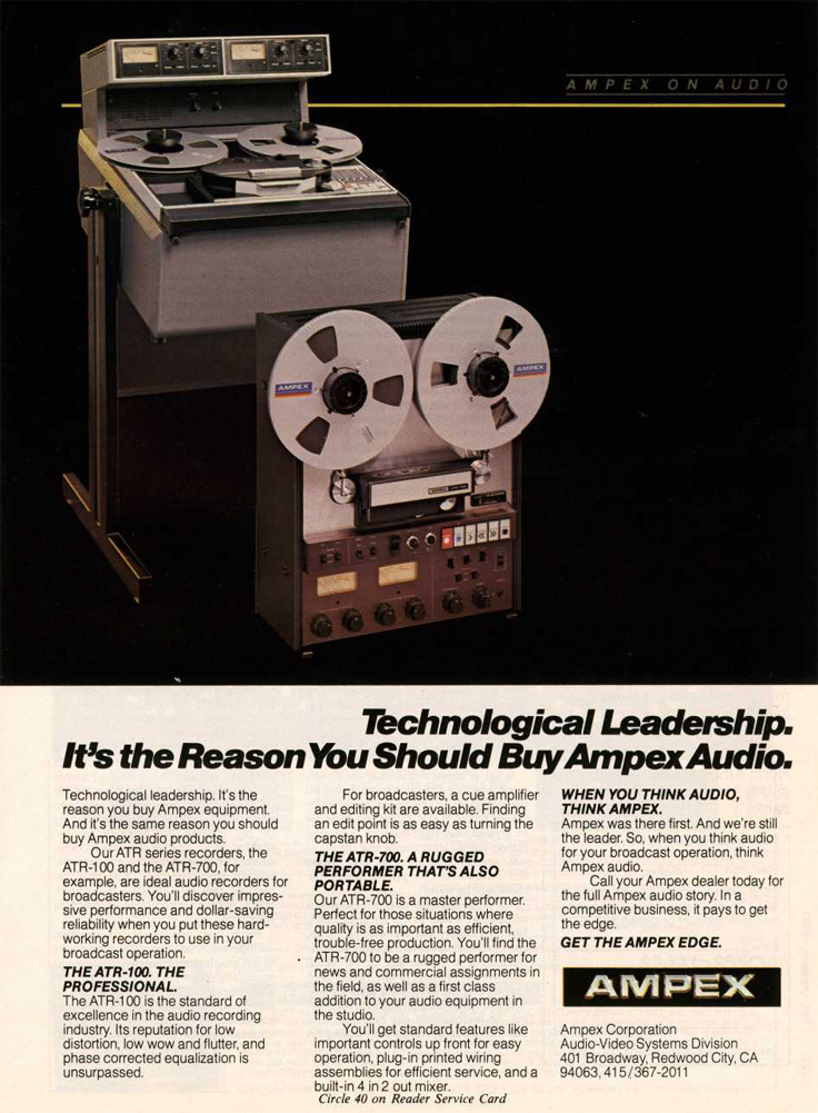 1980 ad for the Ampex ATR-100 and the ATR-700 professional reel to reel tape recorders in   Phantom Productions' intage recording collection