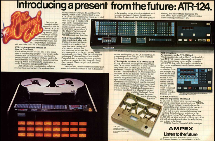 1980 ad for the Ampex ATR-124 professional reel to reel tape recorders in Phantom Productions' intage recording collection