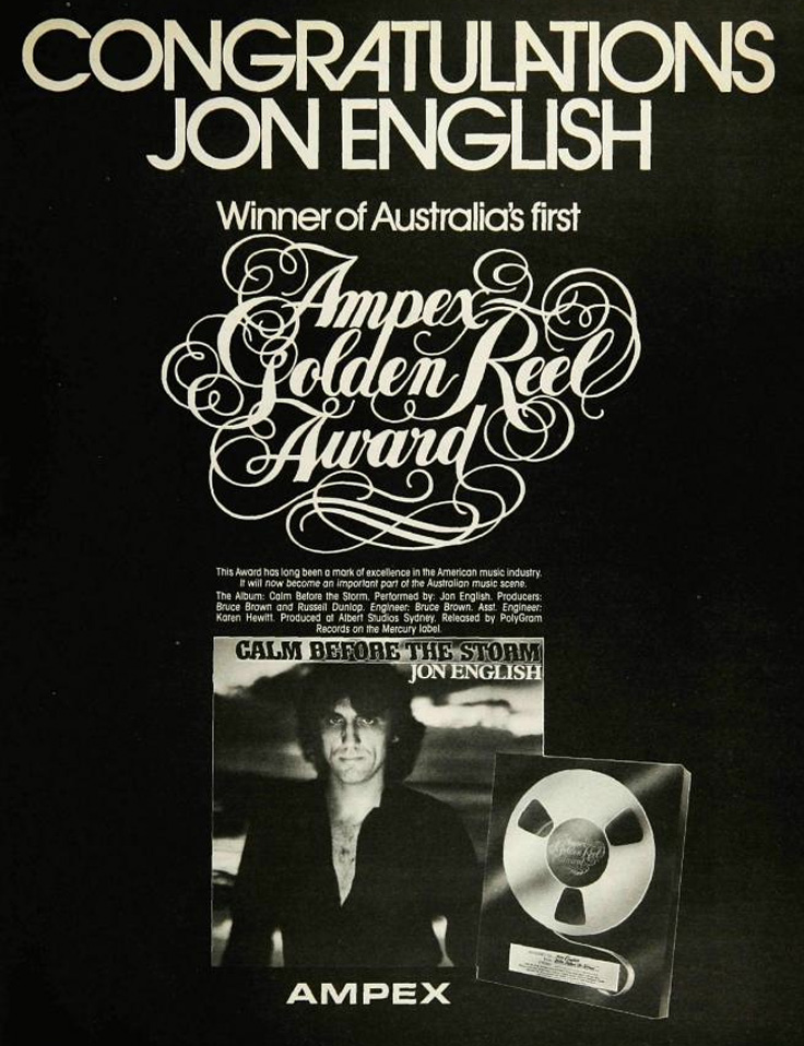 1980 ad for the Ampex Golden Reel  award presented to Jon English of Australia