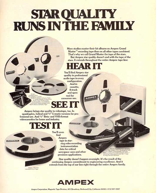 1980 Ampex recording tape ad in Reel2ReelTexas.com vintage tape recorder collection