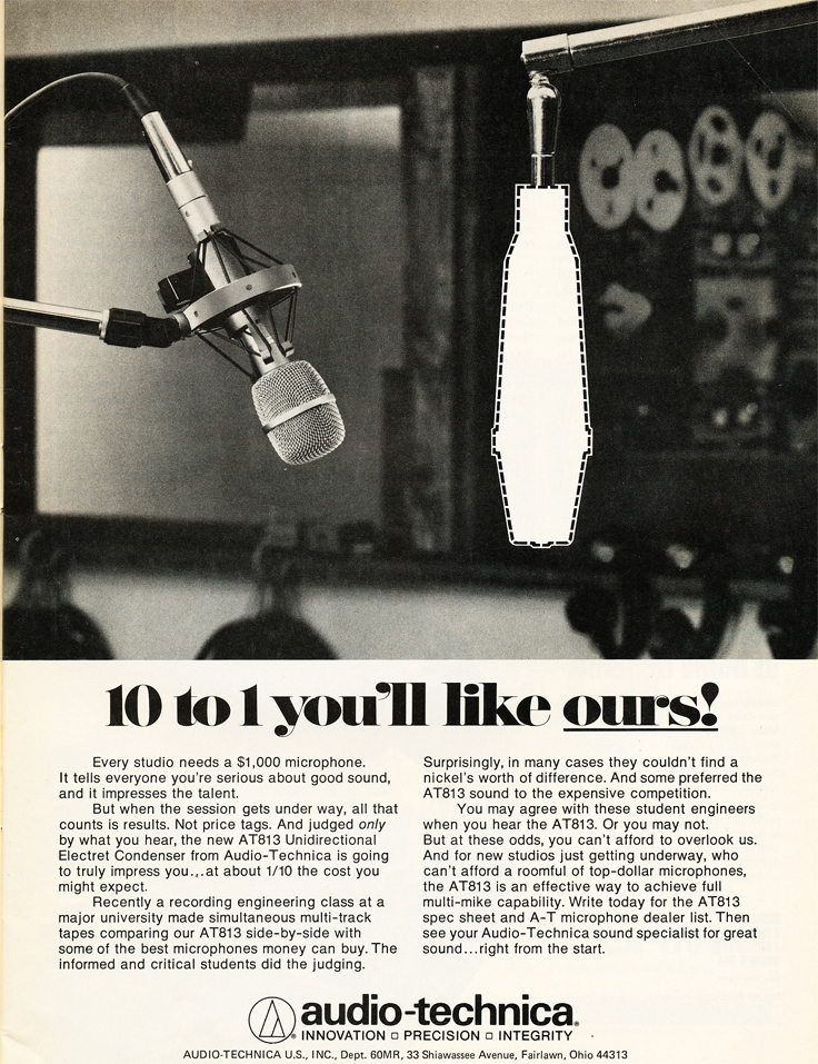1980 ad for the Audio-Technica AT-813 microphone  in in Reel2ReelTexas.com's vintage recording collection