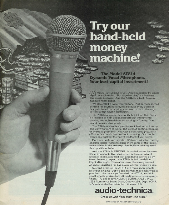 picture of 1980 ad for AudioTechnica  microphones