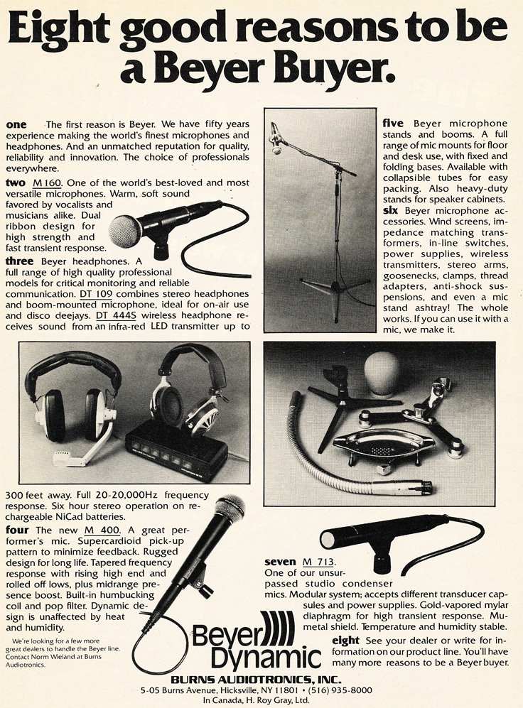 1980 ad for Beyer Dynamic microphones in Reel2ReelTexas.com's vintage recording collection