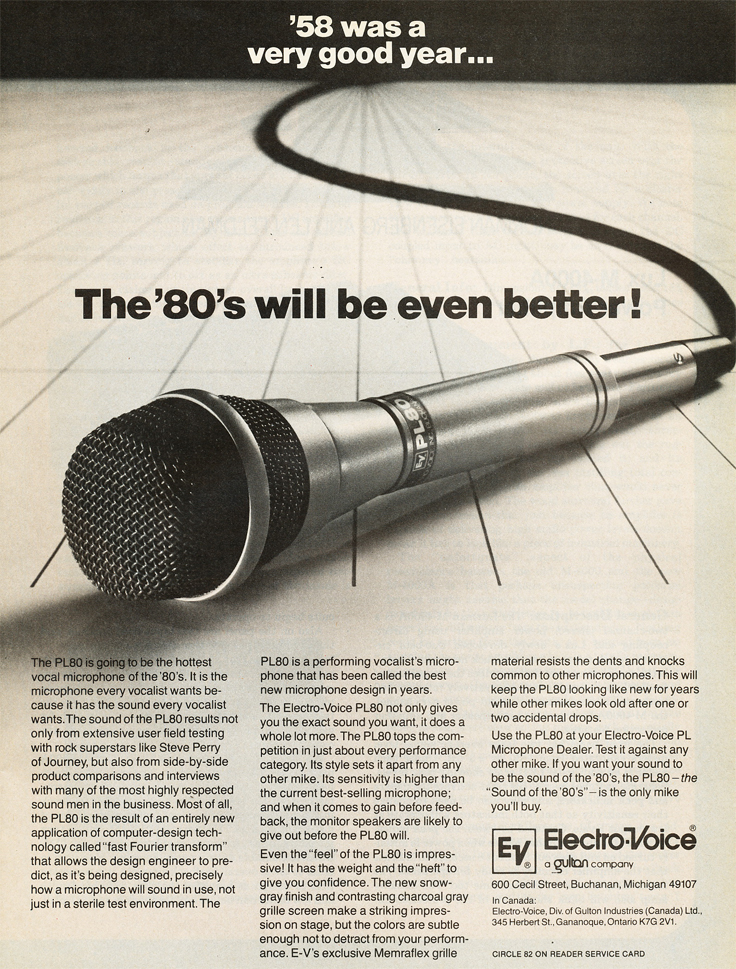 1980 ad for the Electro Voice PL80 microphone in Reel2ReelTexas.com's vintage recording collection