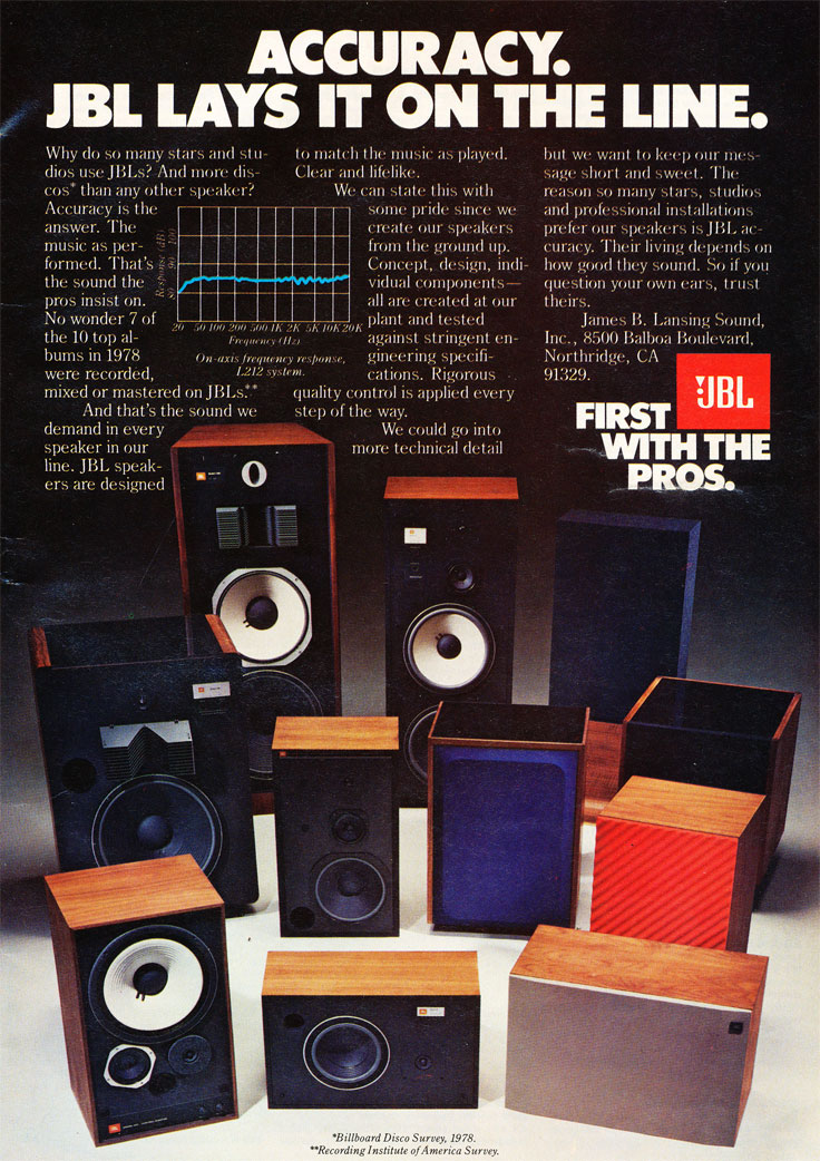 1980 ad for JBL speakers in the reel2reeltexas vintage recording collection