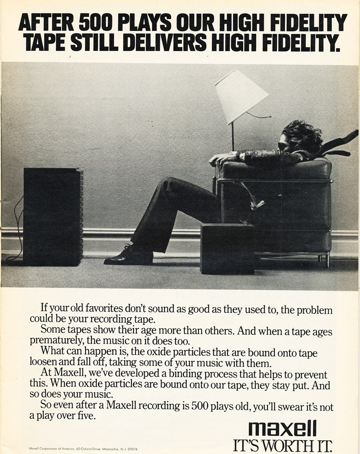 1980 ad for Maxell recording tape in Reel2ReelTexas.com's vintage recording collection