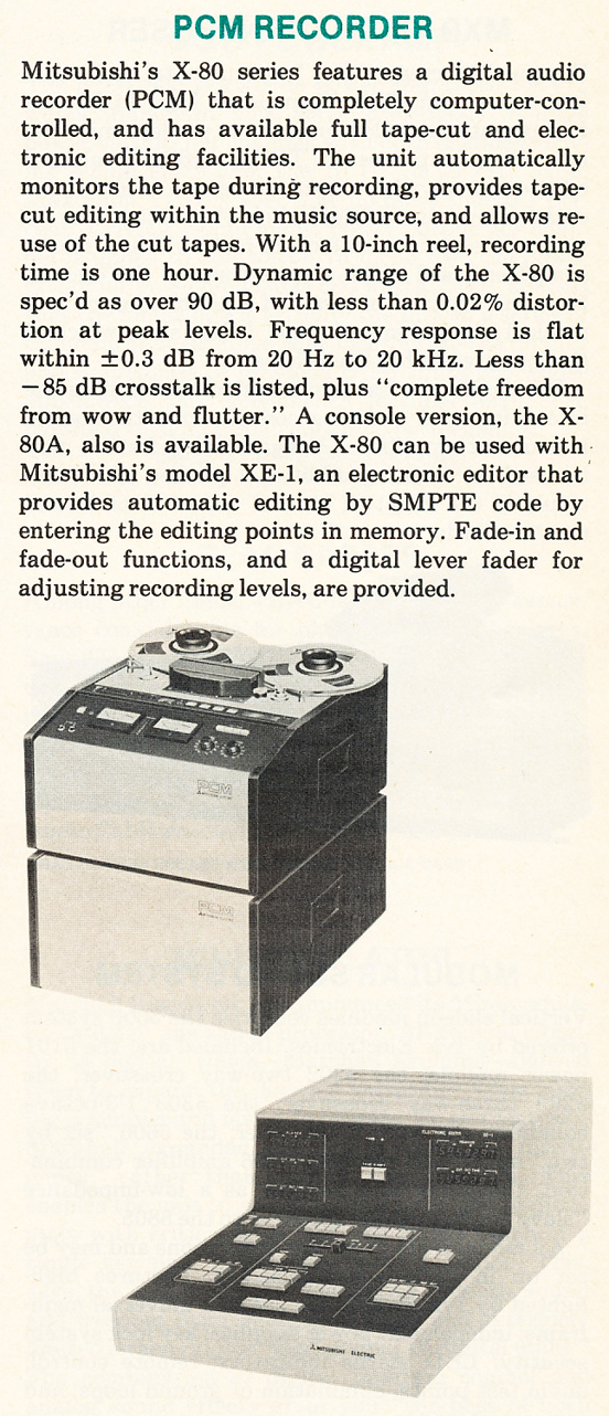 1980 ad for the Mitsubish iX80 PCM  reel tape recorder in Reel2ReelTexas.com's vintage recording collection