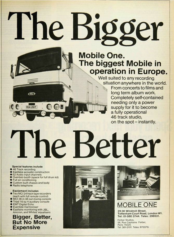 1080's ad for London's Mobile One mobile recording truck in Reel2ReelTexas.com's vintage recording collection