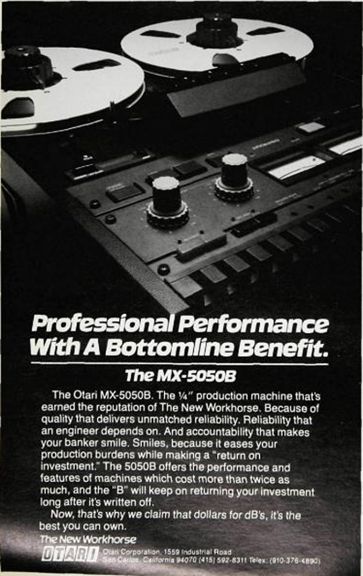 1980 ad for the Otari MX5050B reel tape recorder in Reel2ReelTexas.com's vintage recording collection