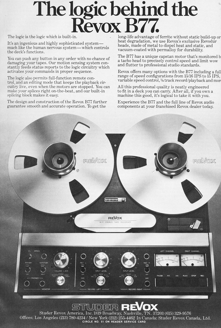 1980 ad for the ReVox B77 professional reel to reel tape recorder  in  Reel2ReelTexas.com's vintage recording collection