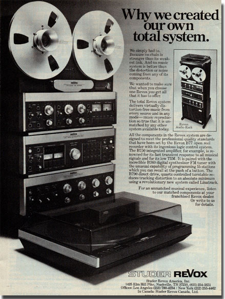 1980 ad for the ReVox B77 professional reel to reel tape recorder, amplifier, tuner and accessories in  Reel2ReelTexas.com's vintage recording collection
