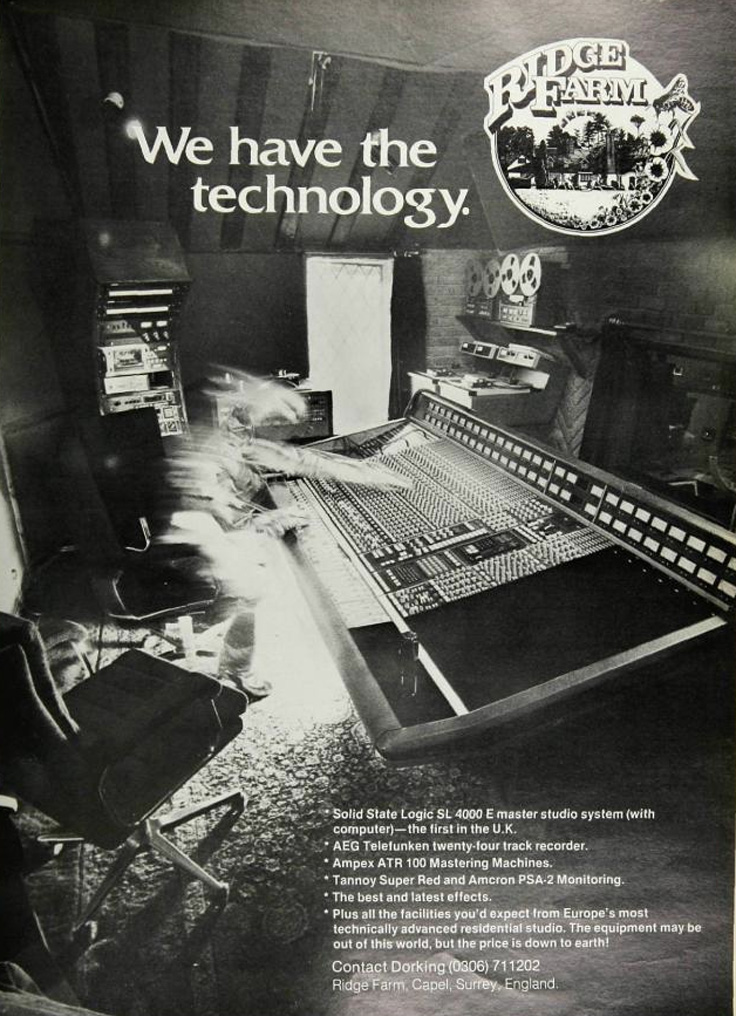 1980 ad for the Ridge Farm recording studio