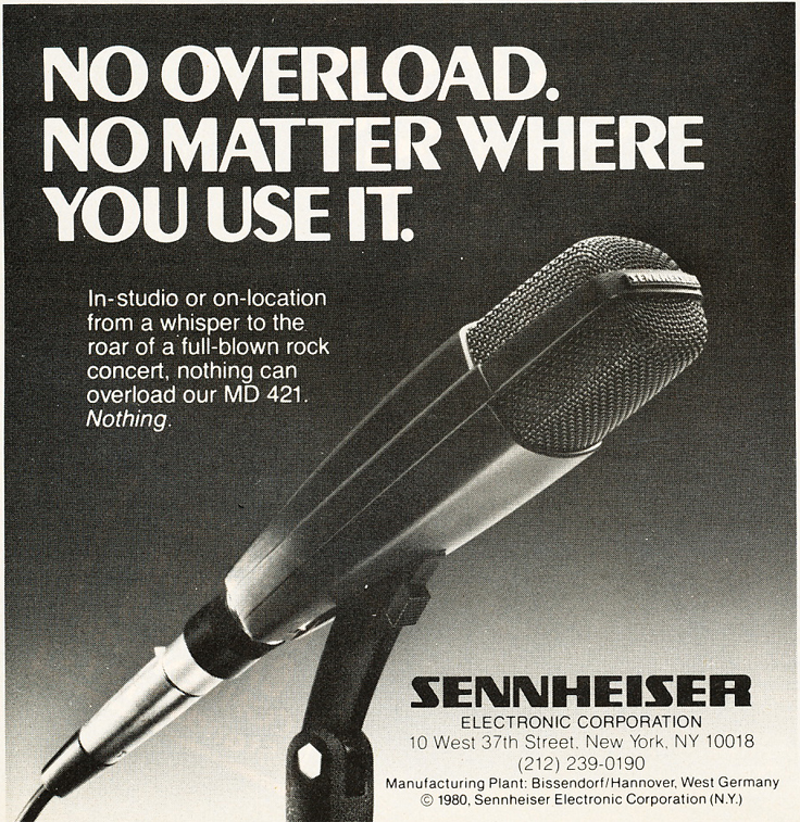 1980 ad for Sennheiser MD-421 microphone in Phantom's vintage recording collection