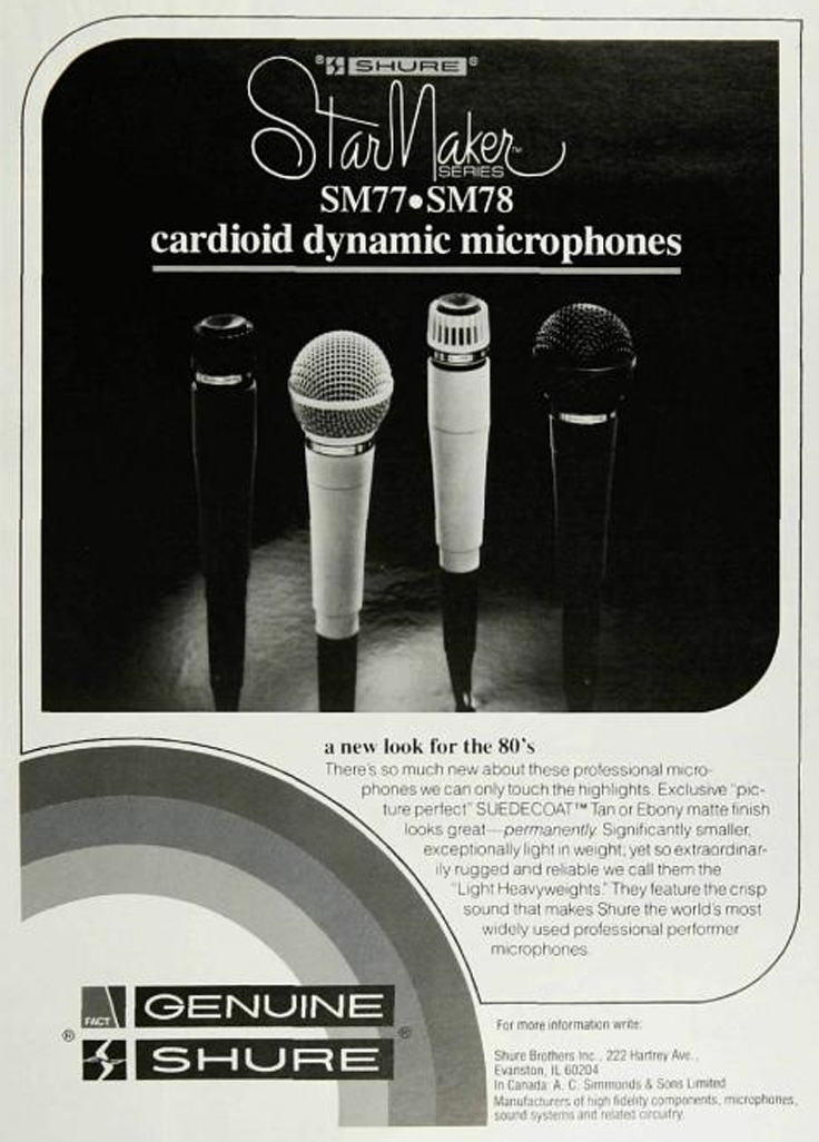 1980 ad for Shure microphones in Phantom's vintage recording collection