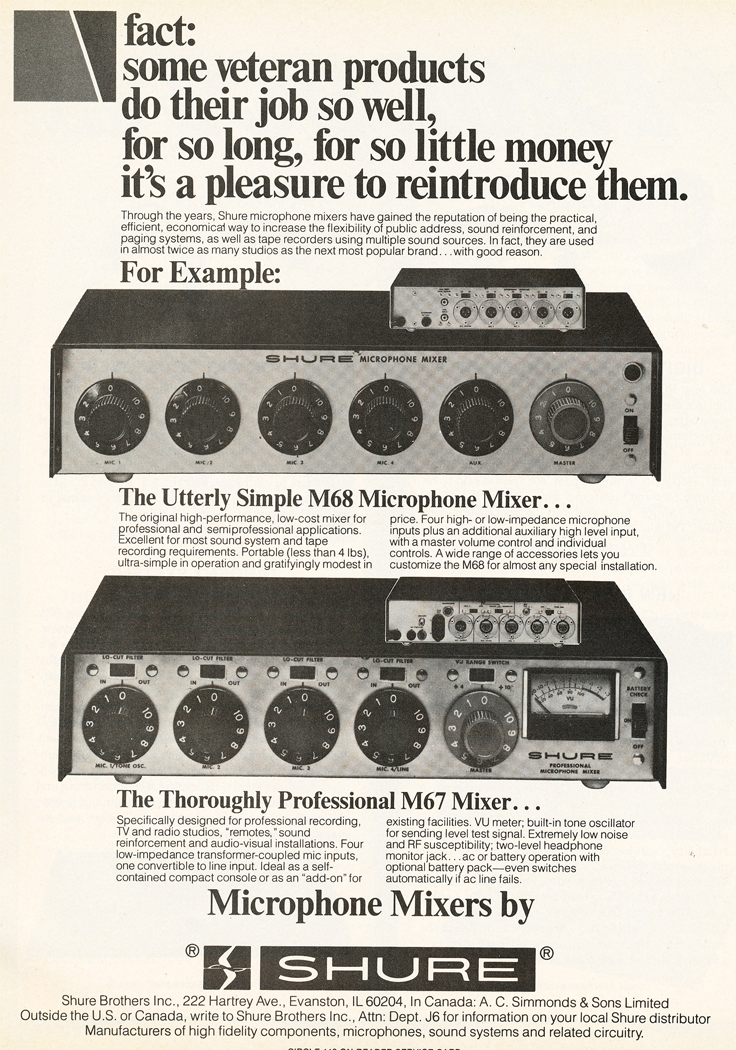 1980 ad for the Shure M68 microphone mixer in Reel2ReelTexas.com's vintage recording collection