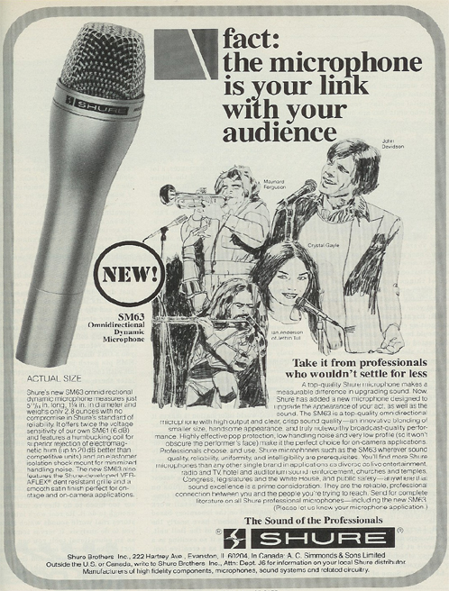 picture of 1980 ad for Shure microphones