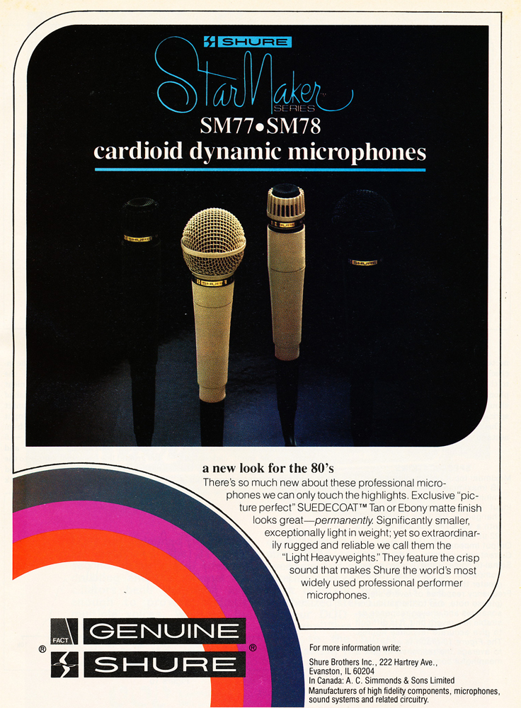 1980 color ad for Shure microphones in Phantom's vintage recording collection