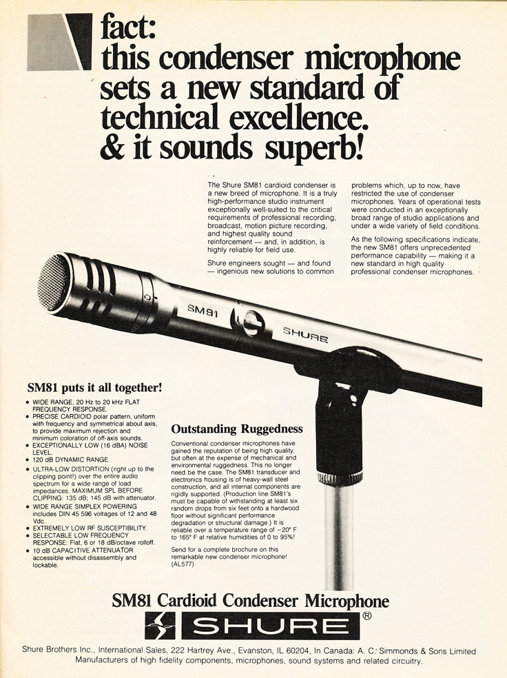 1980 color ad for Shure SM81 microphone in Phantom's vintage recording collection