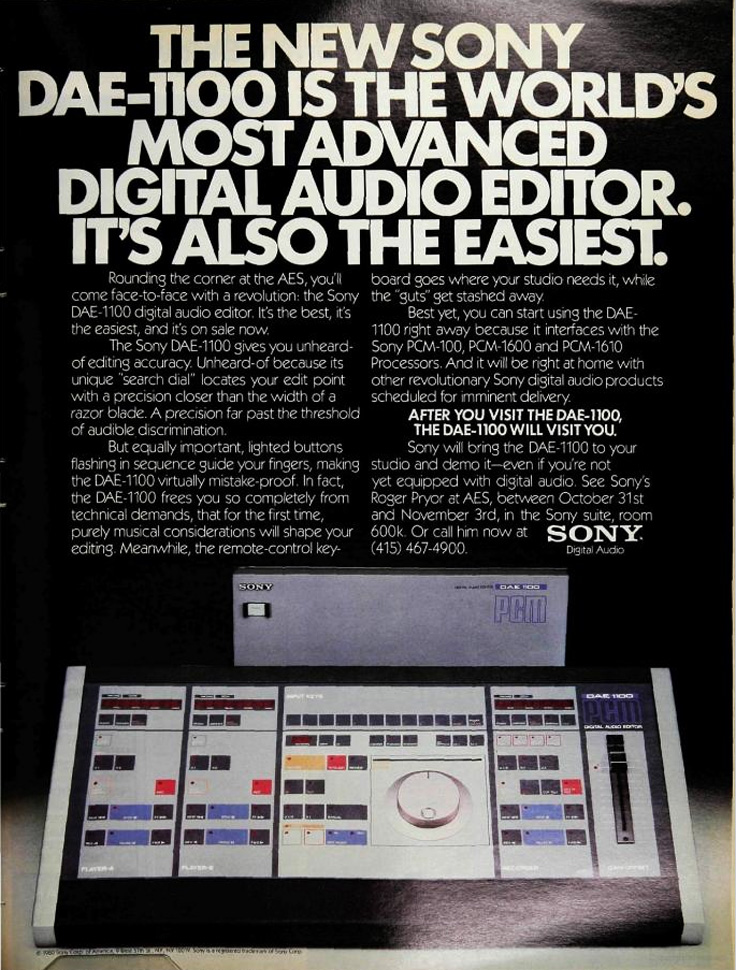 1980 ad for the Sony DAE-1100 digital audio editor in Reel2ReelTexas.com's vintage recording collection