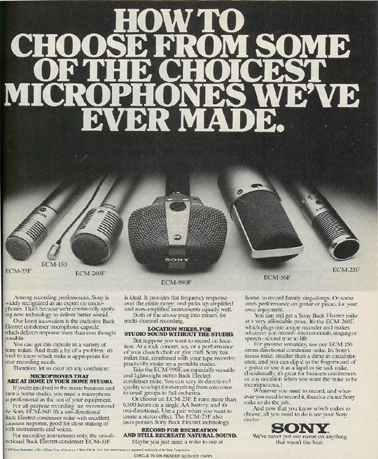 picture of 1980 ad for Sony microphones