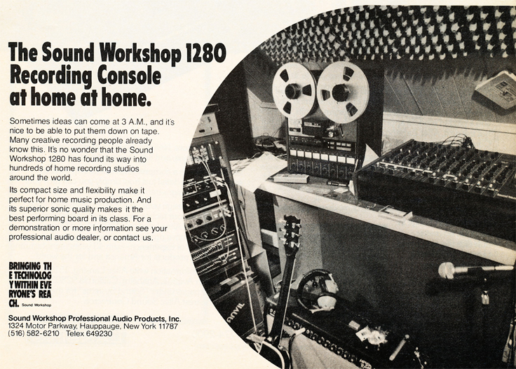 1980 ad for the Sound Workshop 1280 mixer in Reel2ReelTexas' vintage recording collection