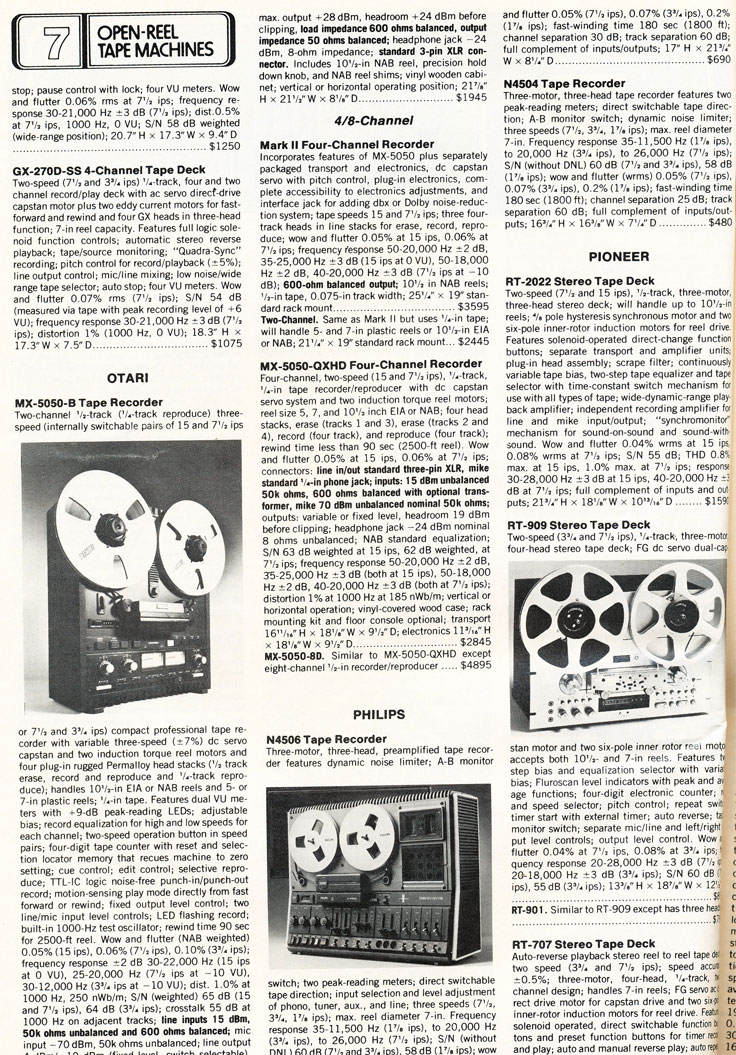 1980 Stereo Directory & Buying Guide list of open reel tape recorders in the reel2reeltexas vintage recording collection