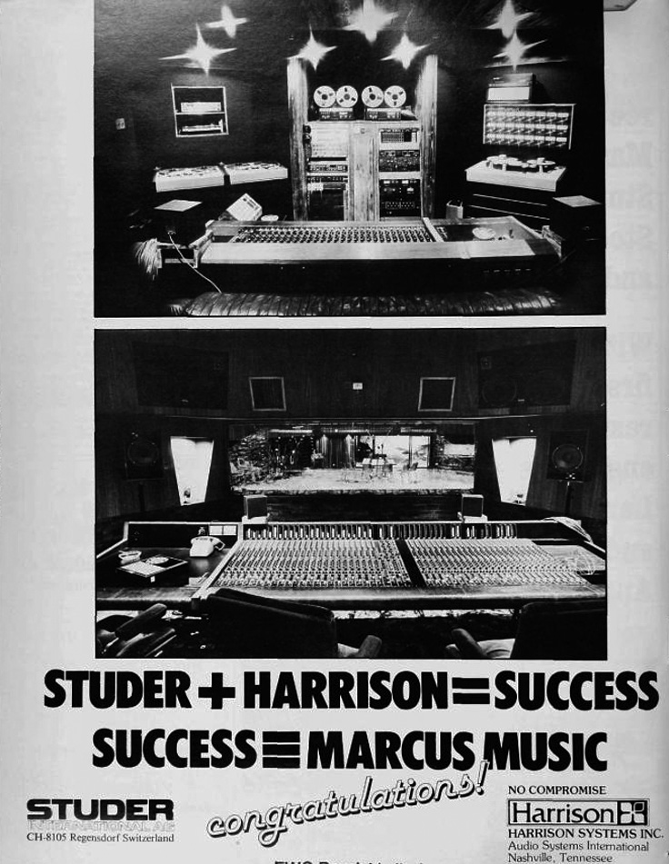 1980 ad for Studer and Harrison audio equipment in Reel2ReelTexas.com's vintage recording collection