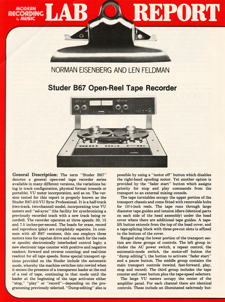 1980 review of the Studer B67 reel tape recorder in Reel2ReelTexas.com's vintage recording collection