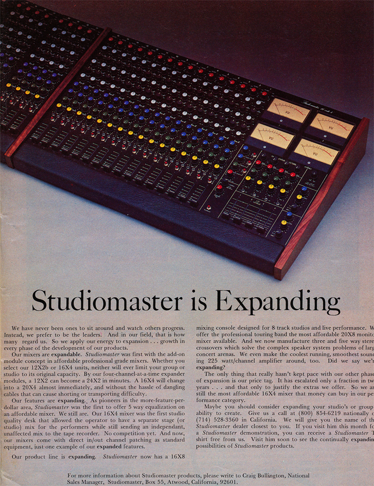 1980 ad for the Studiomaster mixer  in Reel2ReelTexas' vintage recording collection
