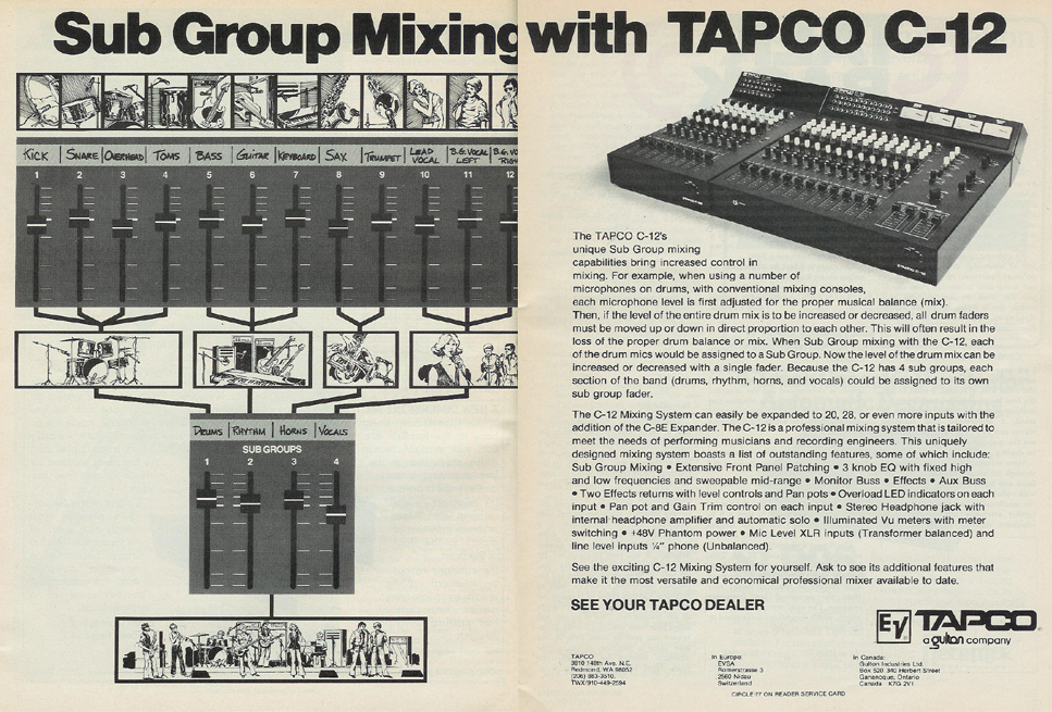 picture of 1980 ad for EV Tapco mixers