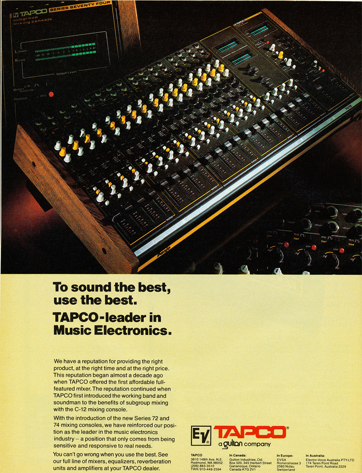 1980 ad for the Tapco C-12 mixer  in Reel2ReelTexas' vintage recording collection