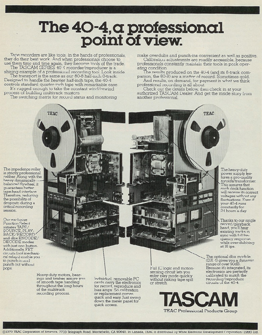 1980 Tascam 40-4 reel tape recorder ad in Reel2ReelTexas.com's vintage recording collection