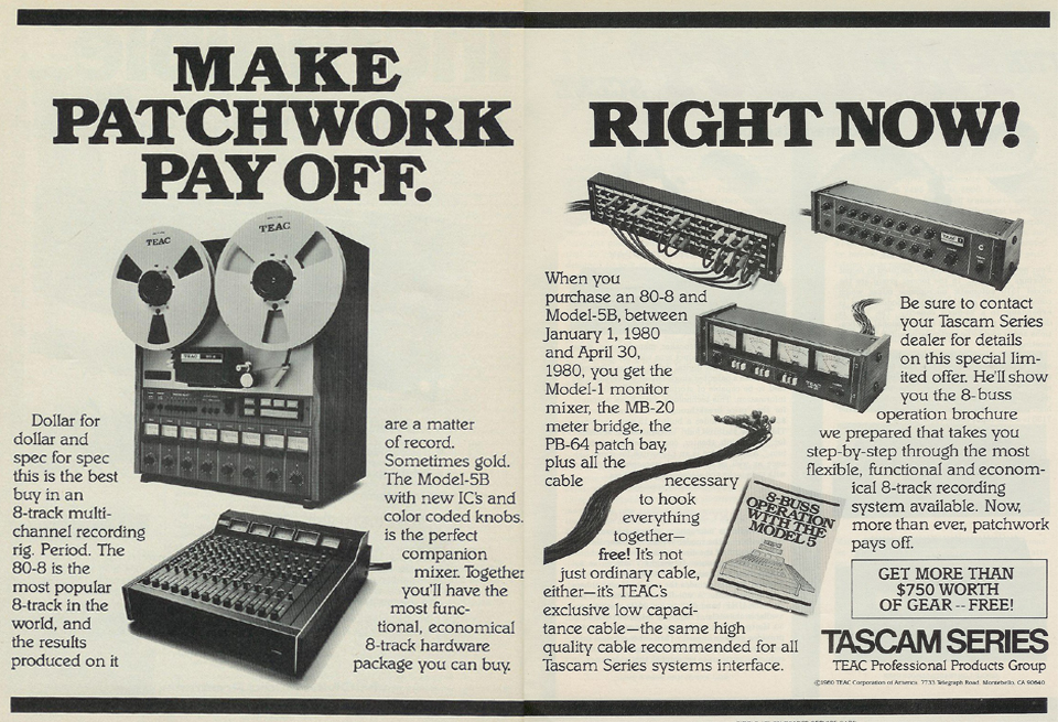 picture of 1980 ad for Tascam 80-8 & patch cables