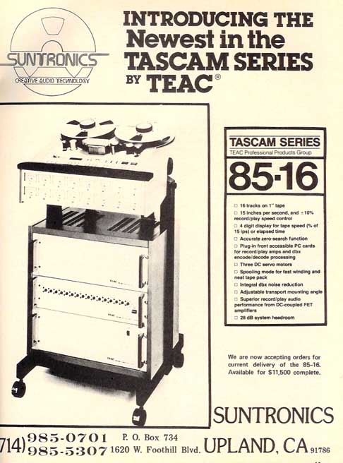 1980 Tascam 85-16 ad in Reel2ReelTexas.com vintage tape recorder collection