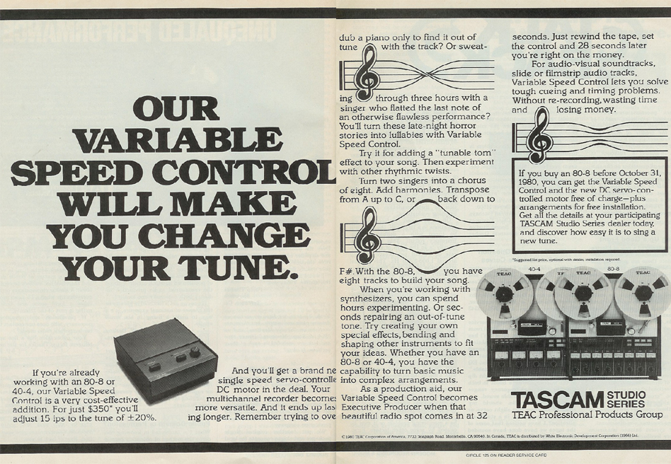 picture of 1980 ad for Tascam varispeed control