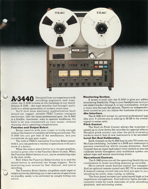 1980 ad for Teac multitrack reel to reel tape recorders and accessories in Reel2ReelTexas' vintage recording collection
