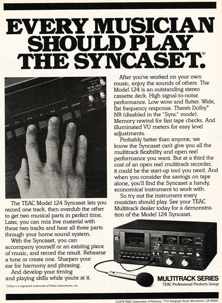 1980 ad for the Teac Model 124 Syncaset multitrack cassette recorder in Reel2ReelTexas.com's vintage recording collection