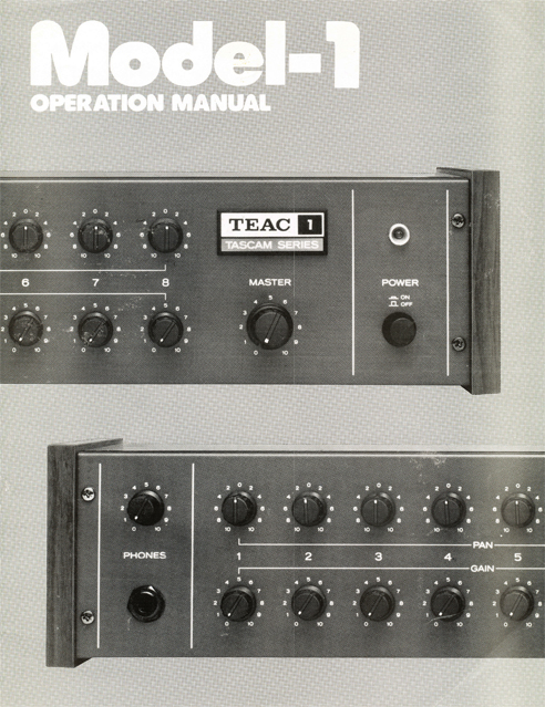 Instruction manual pages for the Teac Tascam Model 1 mixer in Reel2ReelTexas.com's vintage reel tape recorder collection