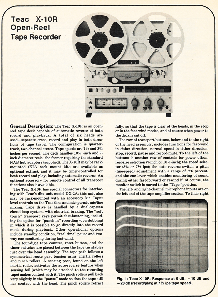1980 review of the Teac X-10R reel to reel tape recorder in Reel2ReelTexas.com vintage tape recorder collection