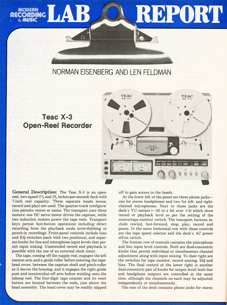 1980 review of the Teac X-3 reel tape recorder in Reel2ReelTexas.com's vintage recording collection