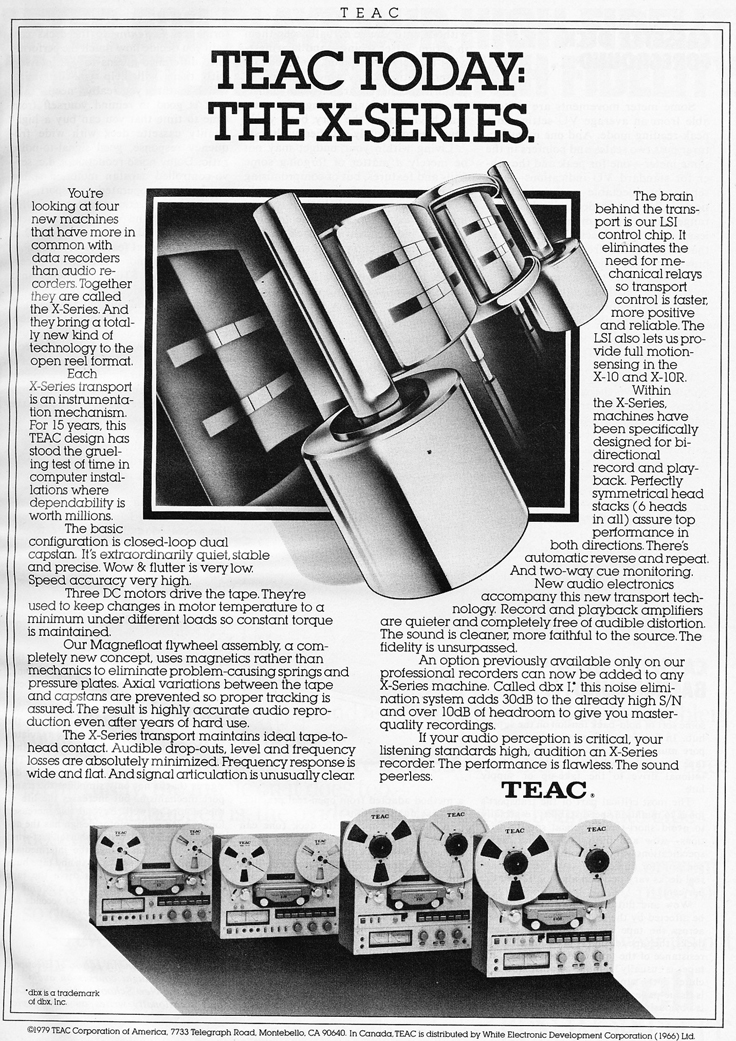 1980 ad for the Teac X-Series reel to reel tape recorders  Reel2ReelTexas.com's vintage recording collection