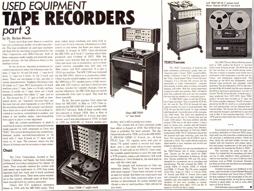 Article on considering used tape recorders from 1980