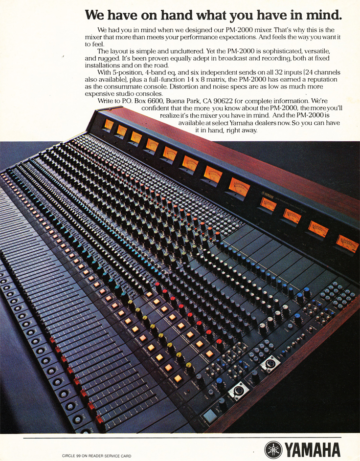 1980 ad for the Yamaha PM-2000 mixer  in Reel2ReelTexas.com's vintage recording collection