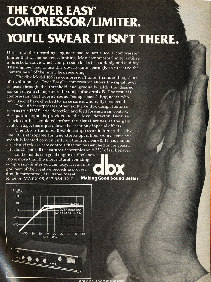 1980 ad for dbx in Reel2ReelTexas.com's vintage recording collection