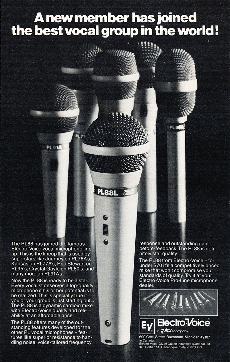 1982 ad for the Electro Voice PL88 microphone in Phantom's vintage recording collection