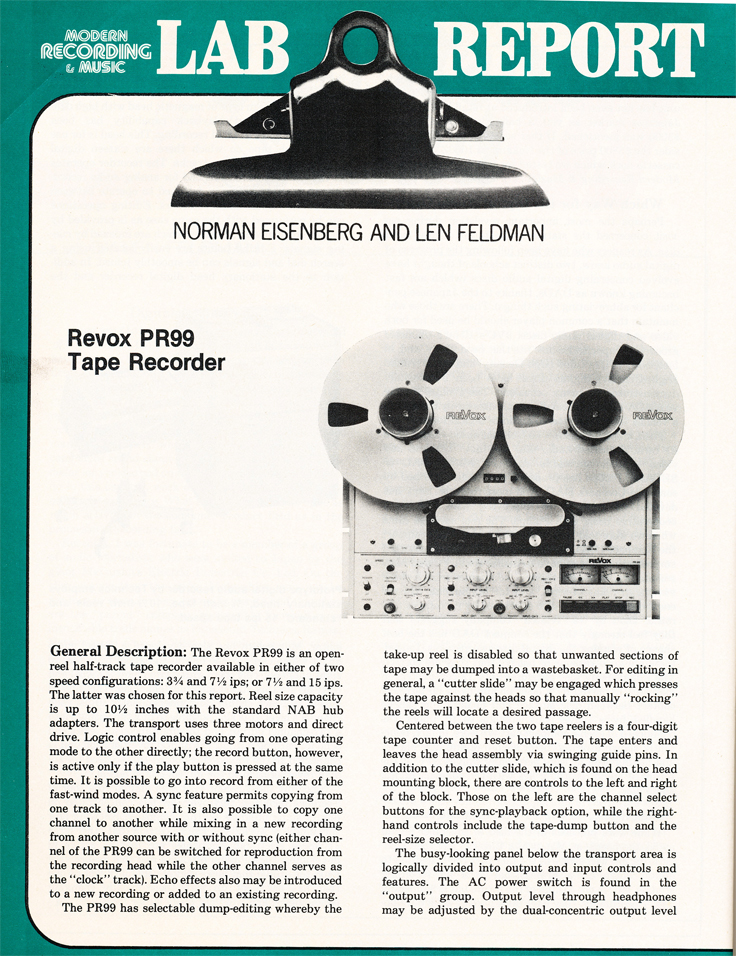 1981 Review of the ReVox PR99 reel tape recorder in Phantom Productions vintage recording collection