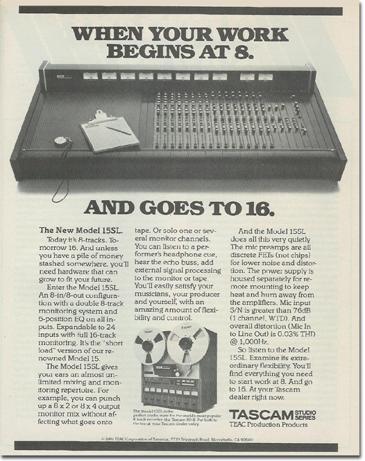 picture of Tascam 15SL ad