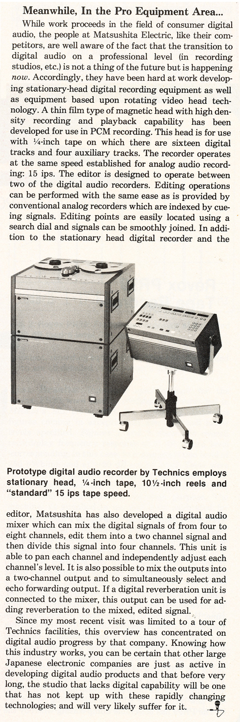 1981 Technics prototype digital  reel tape recorder ad in the Museum of Magnetic Sound Recording